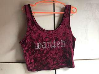 F21 Velvet Red Cropped top