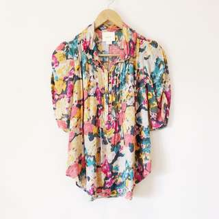 Anthropologie Maeve Floral Button Down Shirt