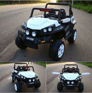 White ATV 2 Seater Rechargeable Ride On Truck with Rubber Tires