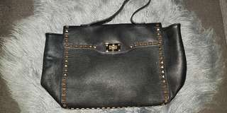 Forever 21 black leather gold studded tote bag Valentino-like