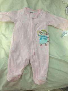 初生冬季女嬰連身衣