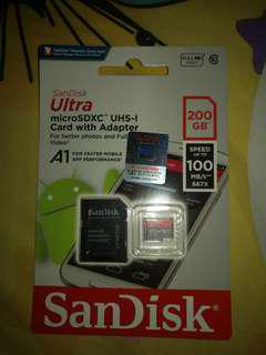 Micro SD microsd microsdxc sandisk 200gb 200 gb brand new sealed not ipad samsung
