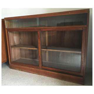 Vintage 5 Feet Long Solid Wood Book Shelf Cabinet