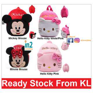 (Free Delivery) Cute Kids Bag Cartoon Schoolbag Shoulder Bag Boys Girls Backpack Hello Kitty Mickey Minnie Mouse