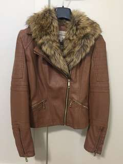 Brown faux leather jacket with detachable faux fur collar