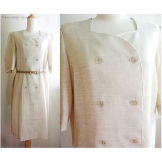 Vintage Beige Double Breasted Dress, US Size L / XL / 14 / 16