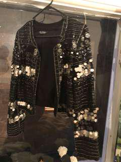 Sequin and beaded cropped jacket