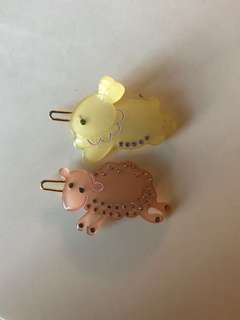 Alexandre de Paris chic and mode authentic animal clips - sheep and rabbit 兔仔 小白兔 羊 髮夾