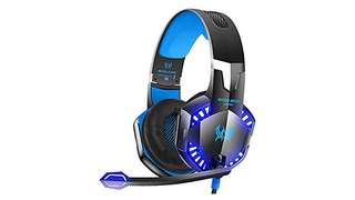 731•VersionTech G2000 Stereo Gaming Headset for Xbox One PS4 PC, Surround Sound Over-Ear Headphones with Noise Cancelling Mic, LED Lights, Volume Control for Laptop, Mac, iPad, Nintendo Switch Games -Blue