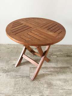 Teak wood foldable side table