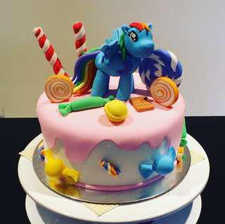 Rainbow dash/candy land birthday cake