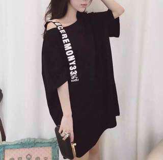 Black Korean Dress free size fit to XXL only