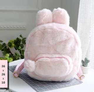 Bag / backpack fluffy bunny baby pink tas bulu