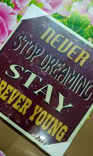 "canvas frame ""never stop dreaming stay forever young"