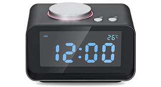 743•USB Alarm Clock, AKASO Radio Alarm Clock with Snooze Function, 5 Dimmer Brightness, Thermometer, 2 USB Charger Port for iPhone/iPad/iPod/Android and Tablets, Black