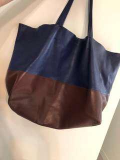 Large CELINE Lambskin Leather Horizontal Bi-Cabas Tote Bag
