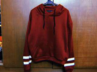 READY STOCK MAROON HOODIE WITH STRIPES PLUS SIZE