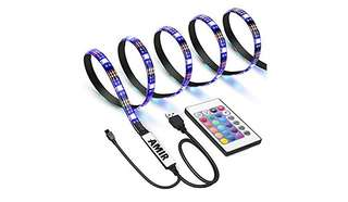 744•AMIR TV LED Light Strip, 30 LED TV Backlight Strip, USB Bias Monitor Lighting, Changing Color Strip Kit , Accent Light Set , Waterproof Bias Lighting For TV Desktop PC (Wireless remote controller)
