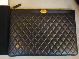 Chanel Boy O Case Large Size Caviar Leather with Buckle