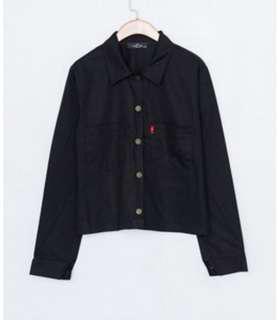 🚚 黑色棉質襯衫外套