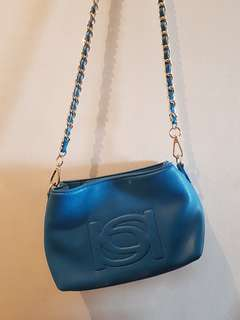 Bebe Blue Sling Bag with Gold Chain Strap