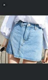 春夏新款牛仔短褲 高腰白搭學生A字半身裙褲 ~ Size: L