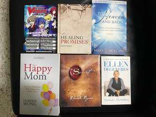 Ellen degeneres, happy mom, healing promises by Joseph prince, the secret, to heaven and back books