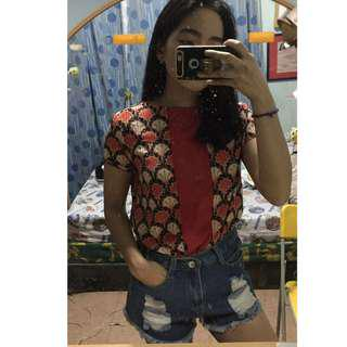 Shapes red printed top