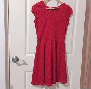 Red Lace Dress by New Look