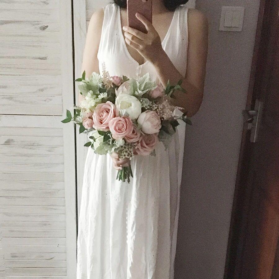 歐洲粉色 新娘絲花花球