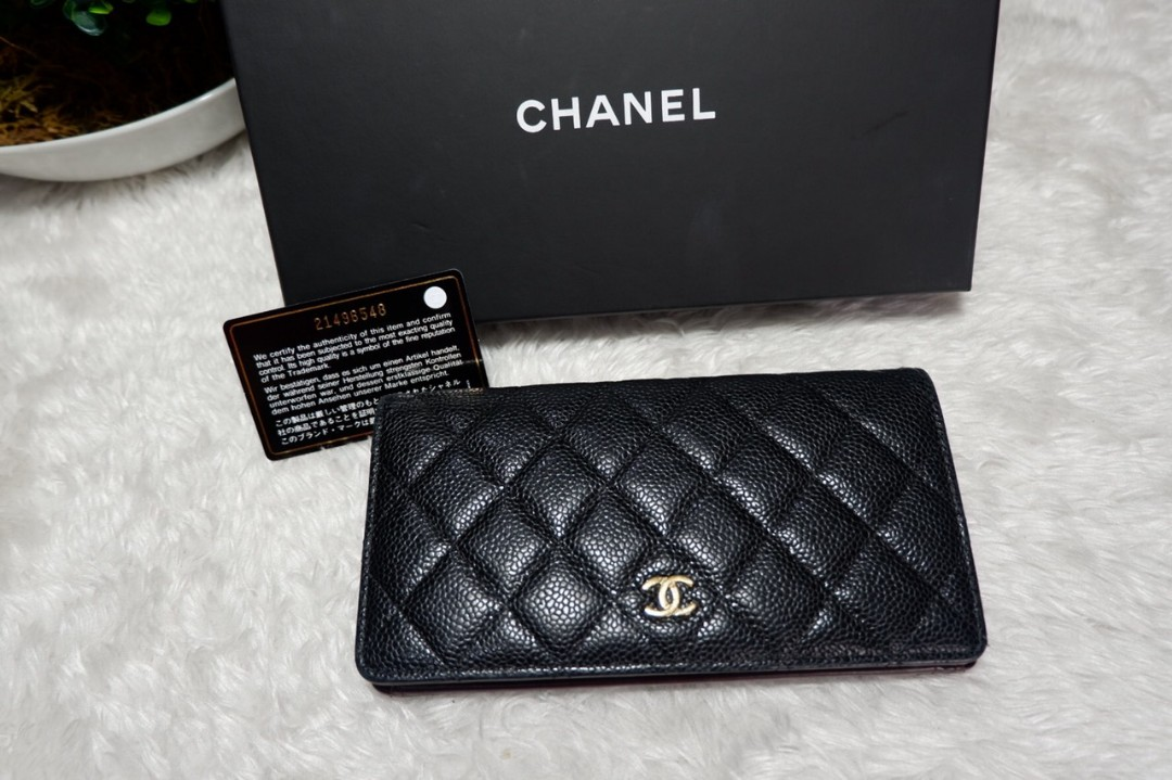 34f3b98c630b AUTHENTIC CHANEL BLACK CAVIAR LONG WALLET.series 23xxx
