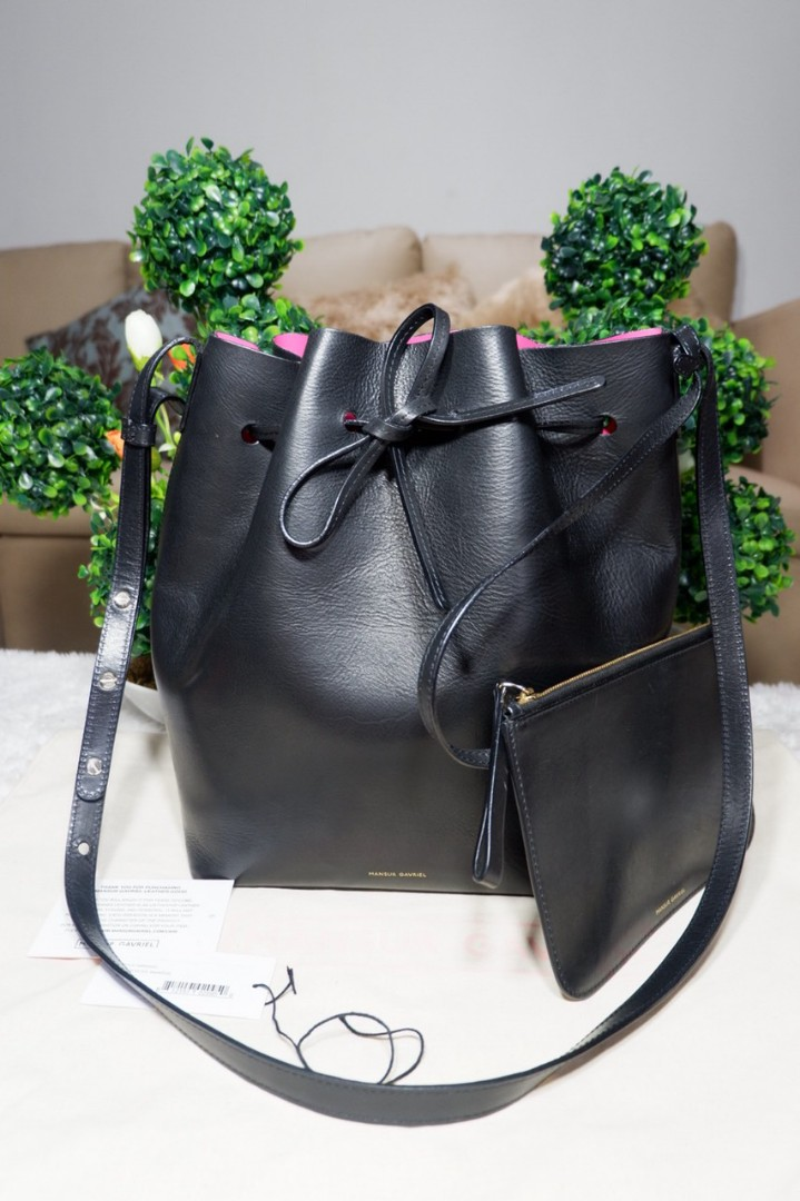 24934a8ed76ab AUTHENTIC MANSUR GAVRIEL BUCKET BLACK BAG LEATHER