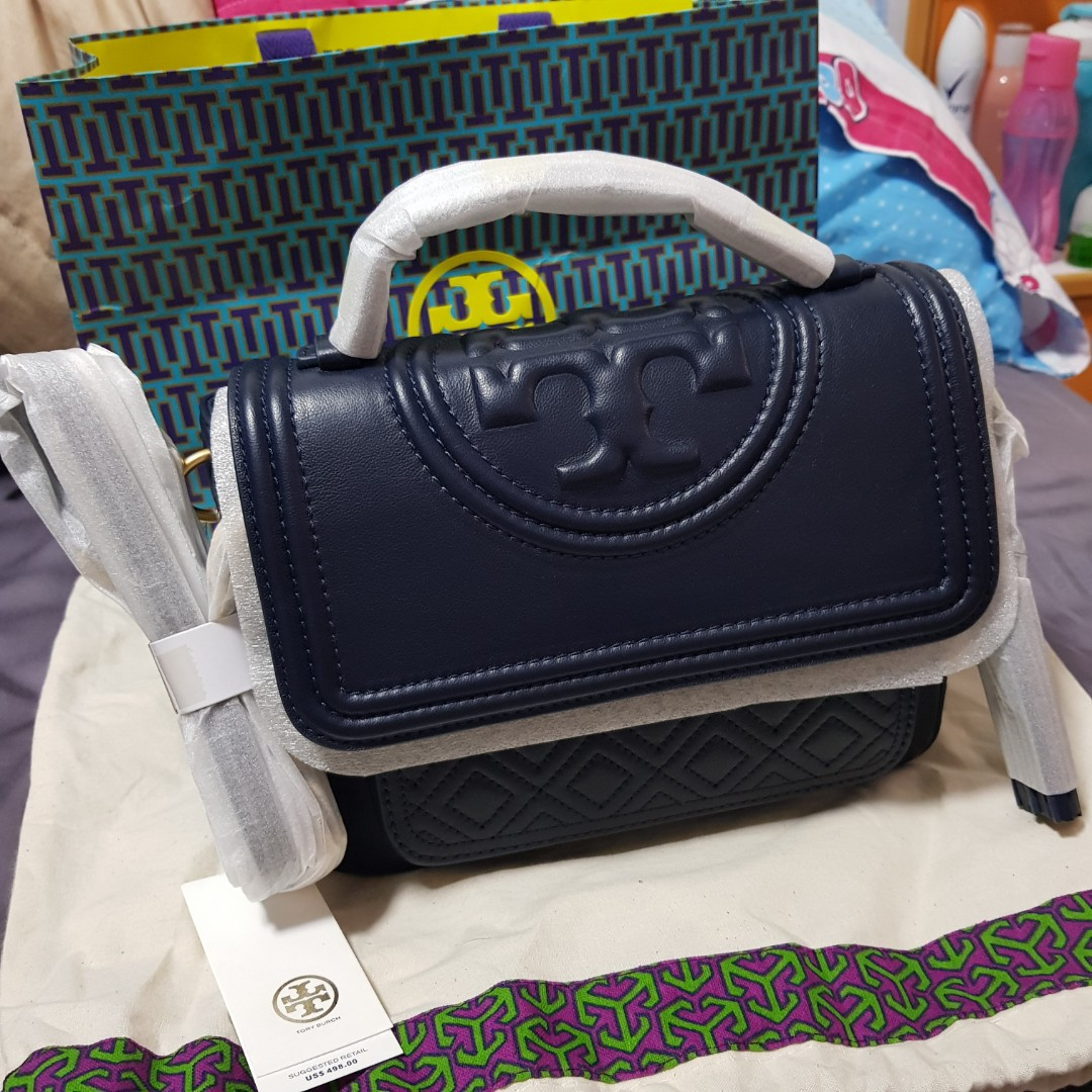 2277660a97e Authentic new Tory Burch Fleming Satchel (Navy)