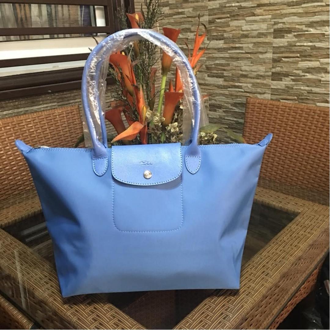 Authentic Original Longchamp Planets Neo Tote Bag Long Handle Shoulder Bag  Medium Size Women s Bag LIGHT BLUE c22730946bd1a