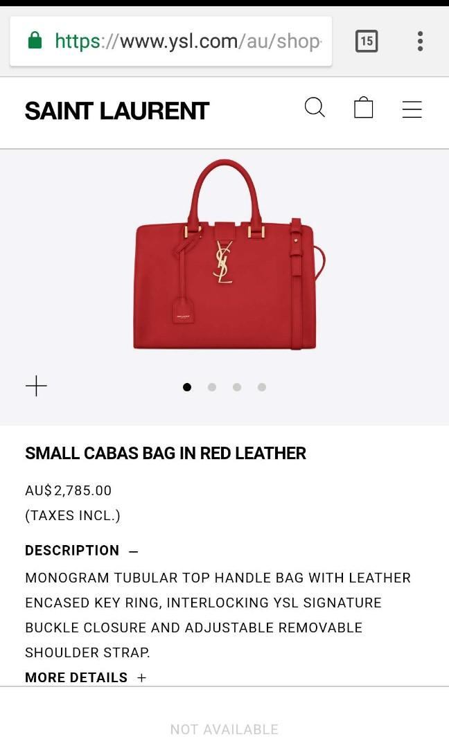 AUTHENTIC YSL Yves Saint Laurent Small Cabas bag in red