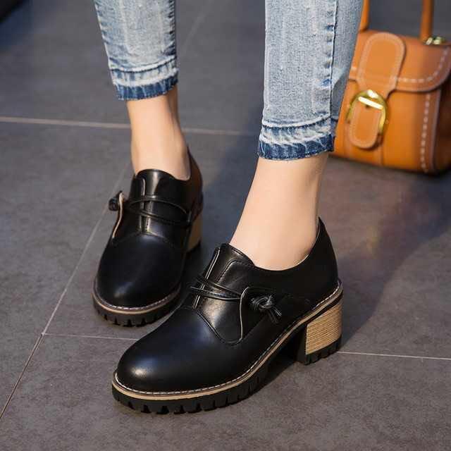 978a2530e97 Black Oxford Dress Shoes Low Heels Casual Women Woman Ladies Girls ...