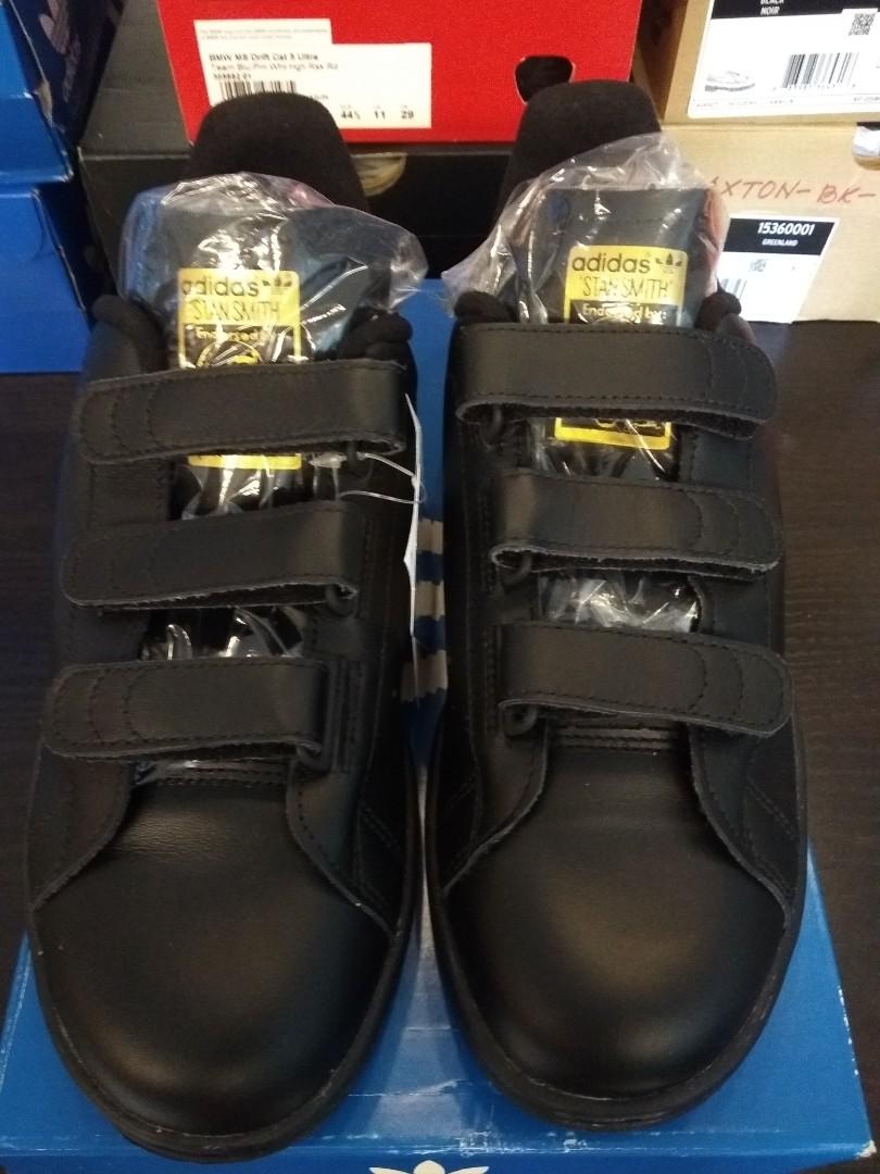 uk adidas originals stan smith black velcro b17bb 29b06