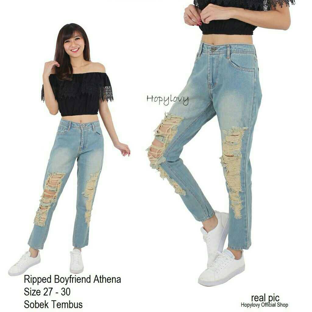 Celana Jeans Wanita Ripped Boyfriend Athena jeans ripped jeans sobek, Women's Fashion, Women's Clothes, Bottoms on Carousell