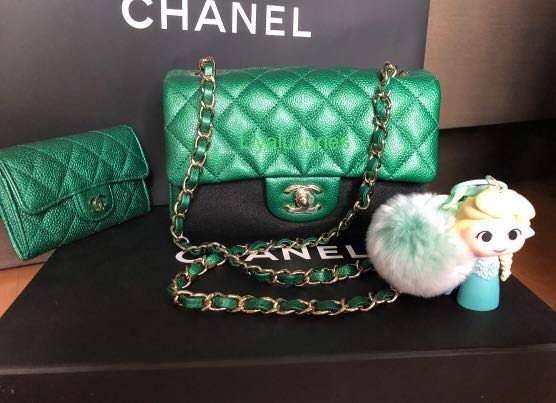 5396a27cd5f Chanel iridescent emerald green mini rectangular , Luxury, Bags & Wallets,  Handbags on Carousell