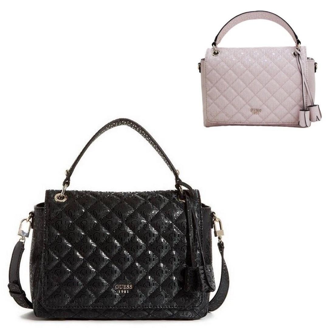 704ccbcabc GUESS Seraphina Top Handle Flap Bag (BLACK)