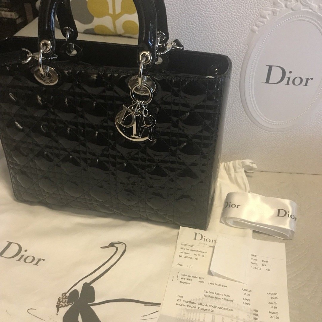 cbf4c929a76015 Large Lady Dior Bag-Black Patent/Silver Hardware 100% Authentic ...