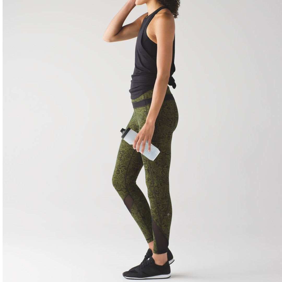 ccbe3f1c28 Lululemon Inspire Tight II Pencil Lace Brave Olive Black / Black Sz6 ...