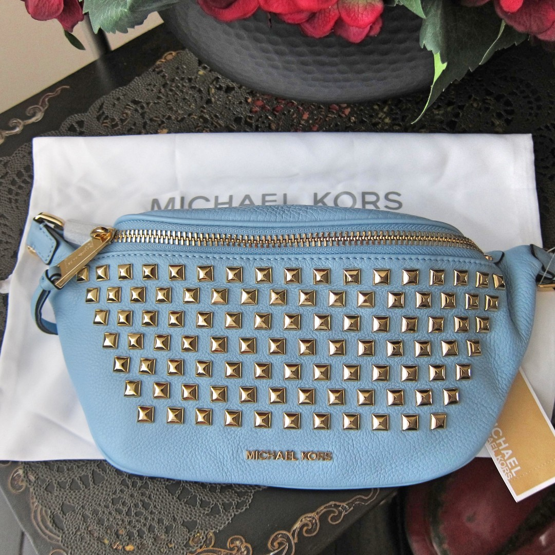fb9e6d140cd023 Michael Kors Rhea Studded Leather Fanny Pack Waist Belt Bag Pouch ...