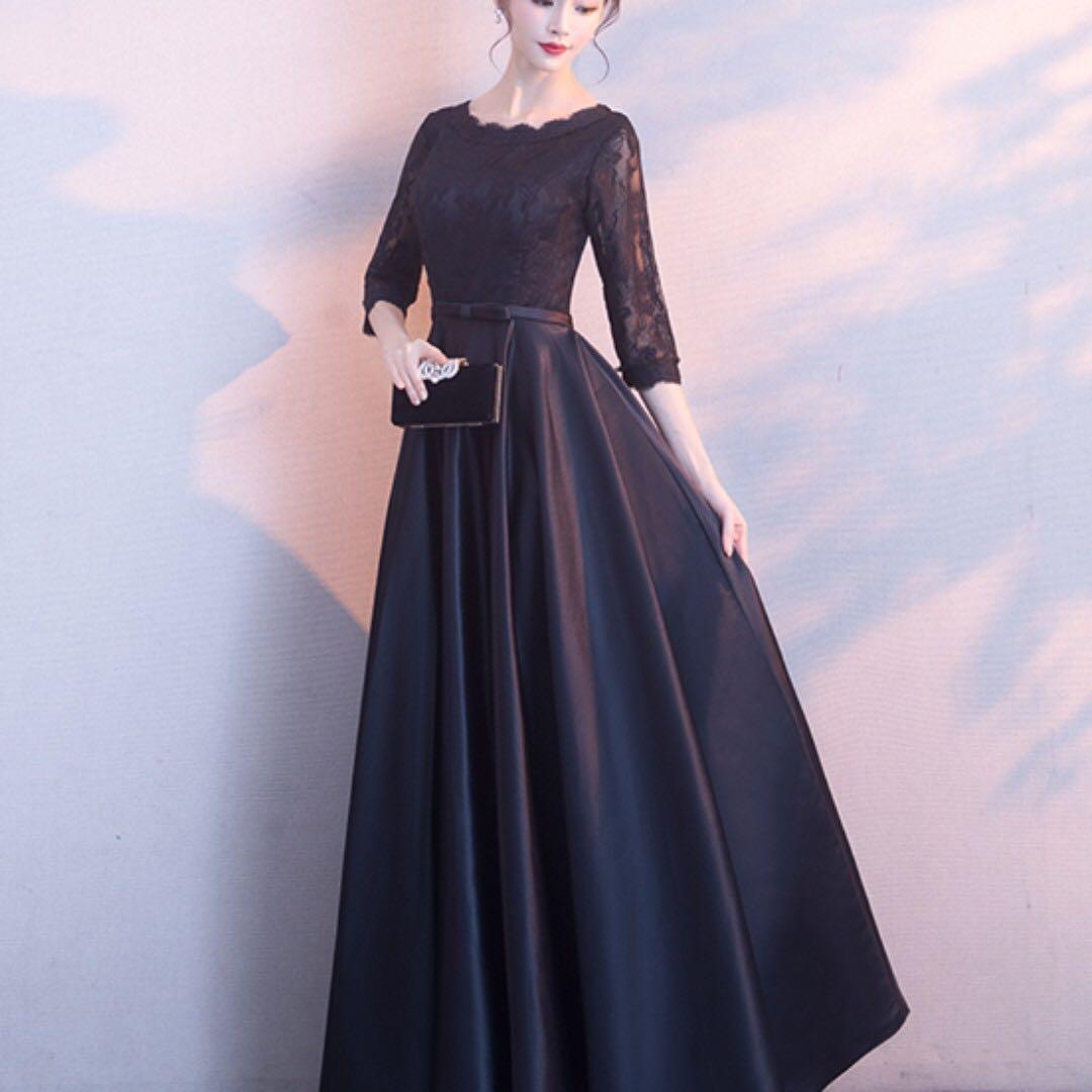Royal Black Satin Lace Long Evening Gown Dinner Dress