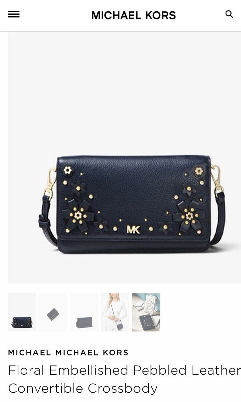 878a9695fbf5 Michael Kors Floral Embellished Pebbled Leather Crossbody Bag (100%  Authentic)