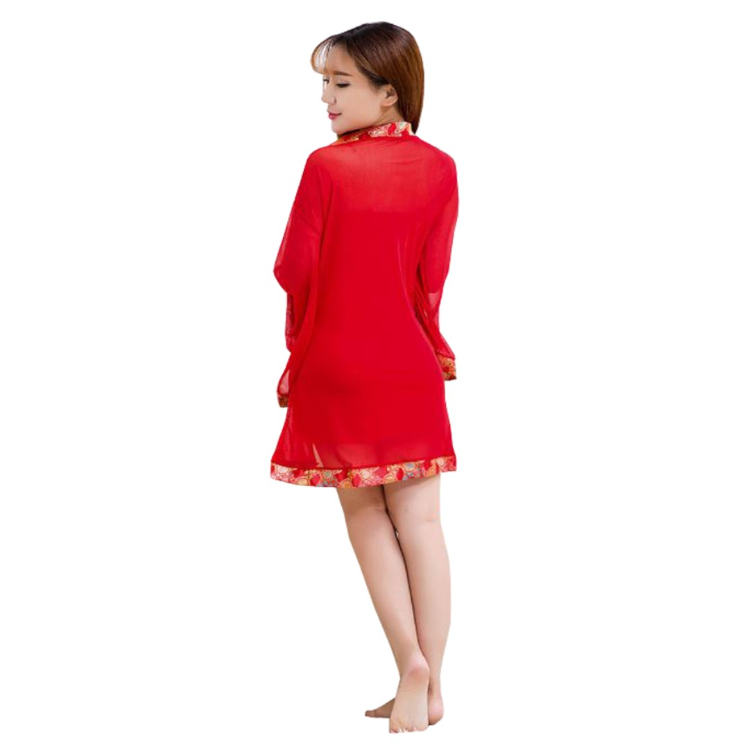 48befcc03f29 TCWK Sexy Woman Robe Polyester Chinese Style Nightdress Lingerie Red ...