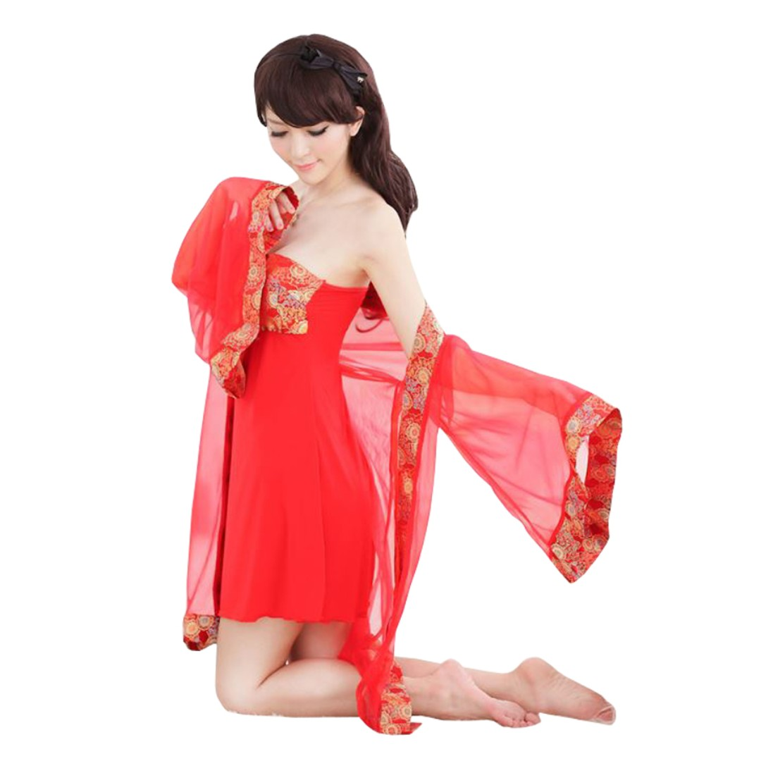 ebfe93daecf7 TCWK Sexy Woman Robe Polyester Chinese Style Nightdress Lingerie Red FF66