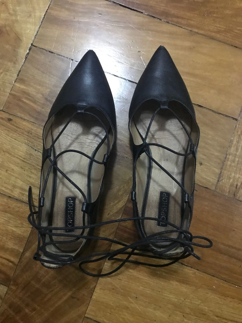 86a697dc613 Topshop pointed ballet flats with ankle ties