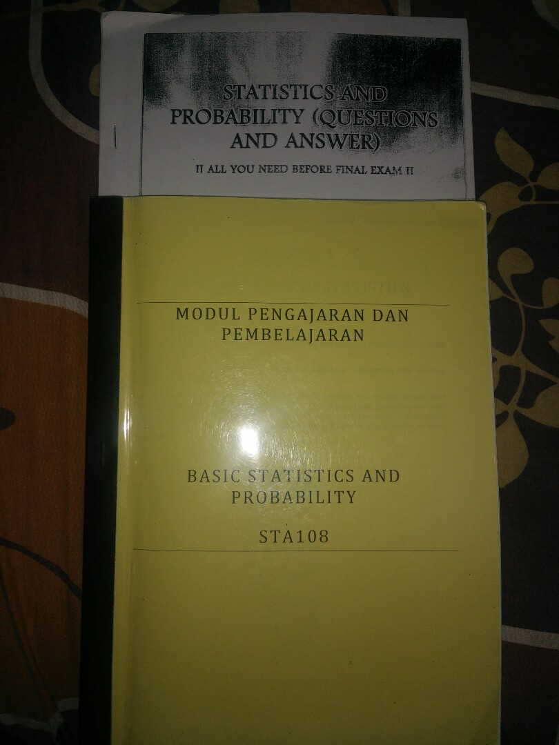 Free postage! UITM AS120 STA108 Basic statistics and probability! Comes  with free exercises! Use this sure will score!