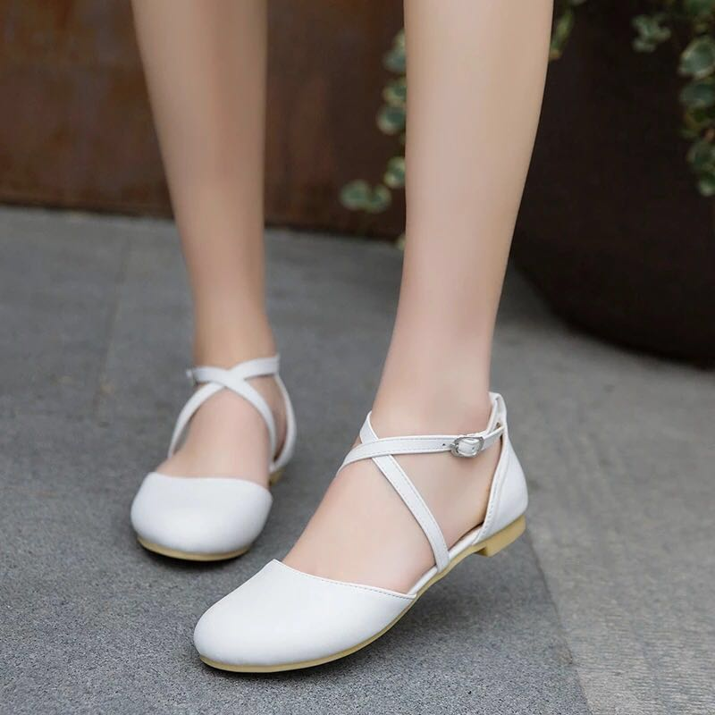 White Rounded covered Toe Shoe Strap Sandals Flat Low Heel woman ...